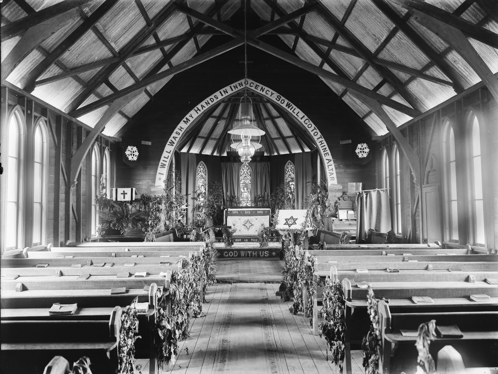 Interior of St Georges Anglican Church at Mareeba Queensland ca 1905