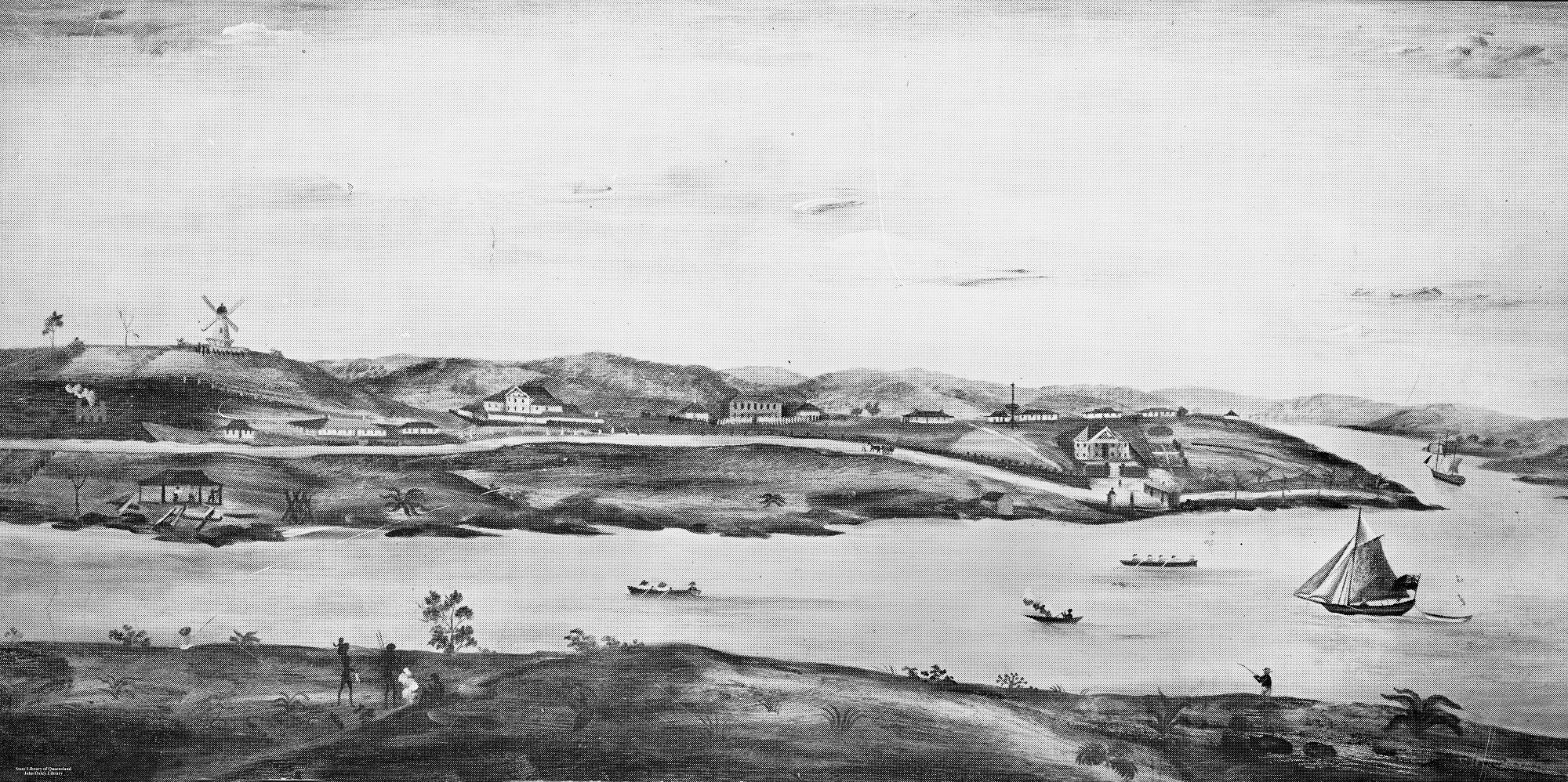 Image of early Brisbane Town in convict days ca 1831