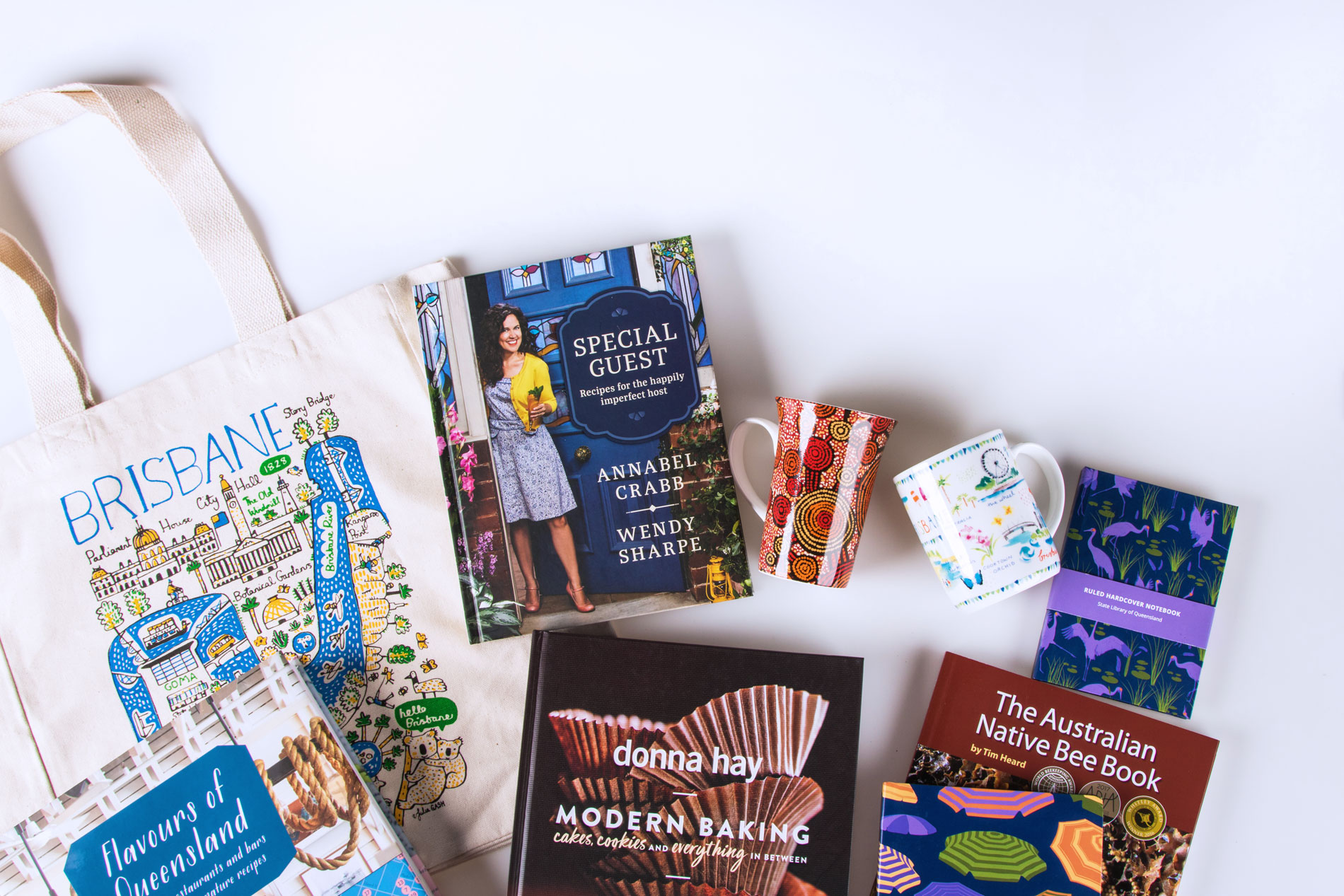 Flat lay of the library shop products