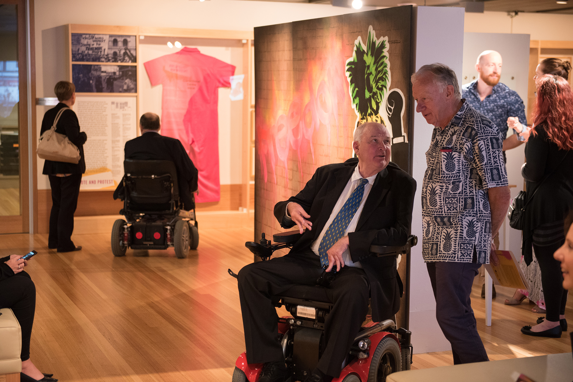 Visitors view the Freedom Then Freedom Now exhibition for the first time