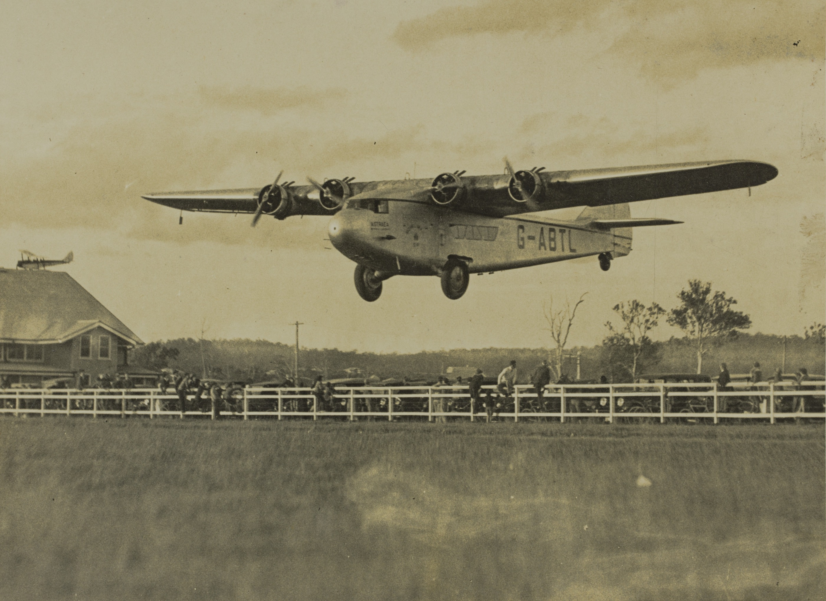 British Imperial Airways plane Astraea coming in to land at Archerfield air field