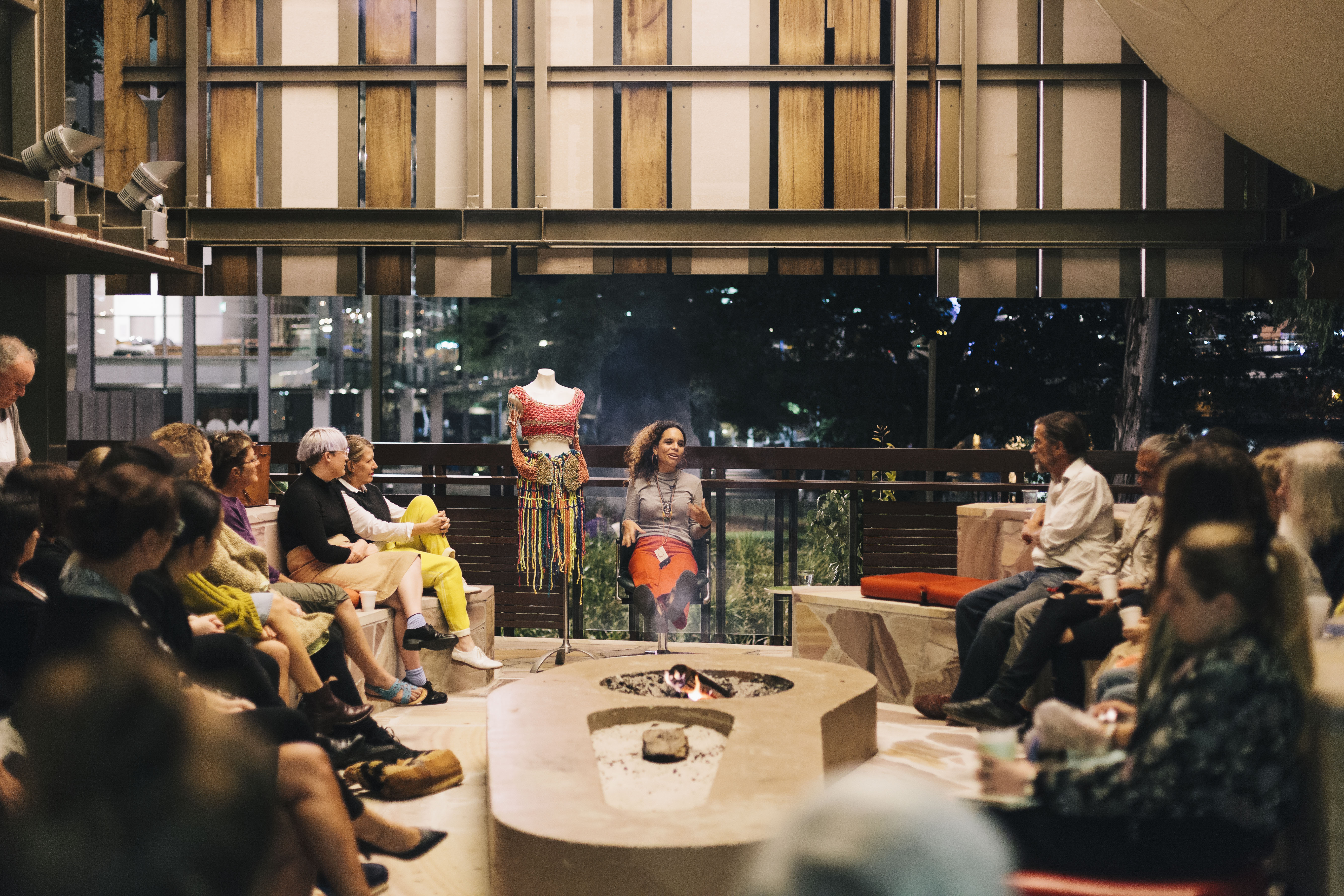 People gathered in State Library's Talking Circle to listen to Elisa Jane Carmichael. Photo by Joe Ruckli.