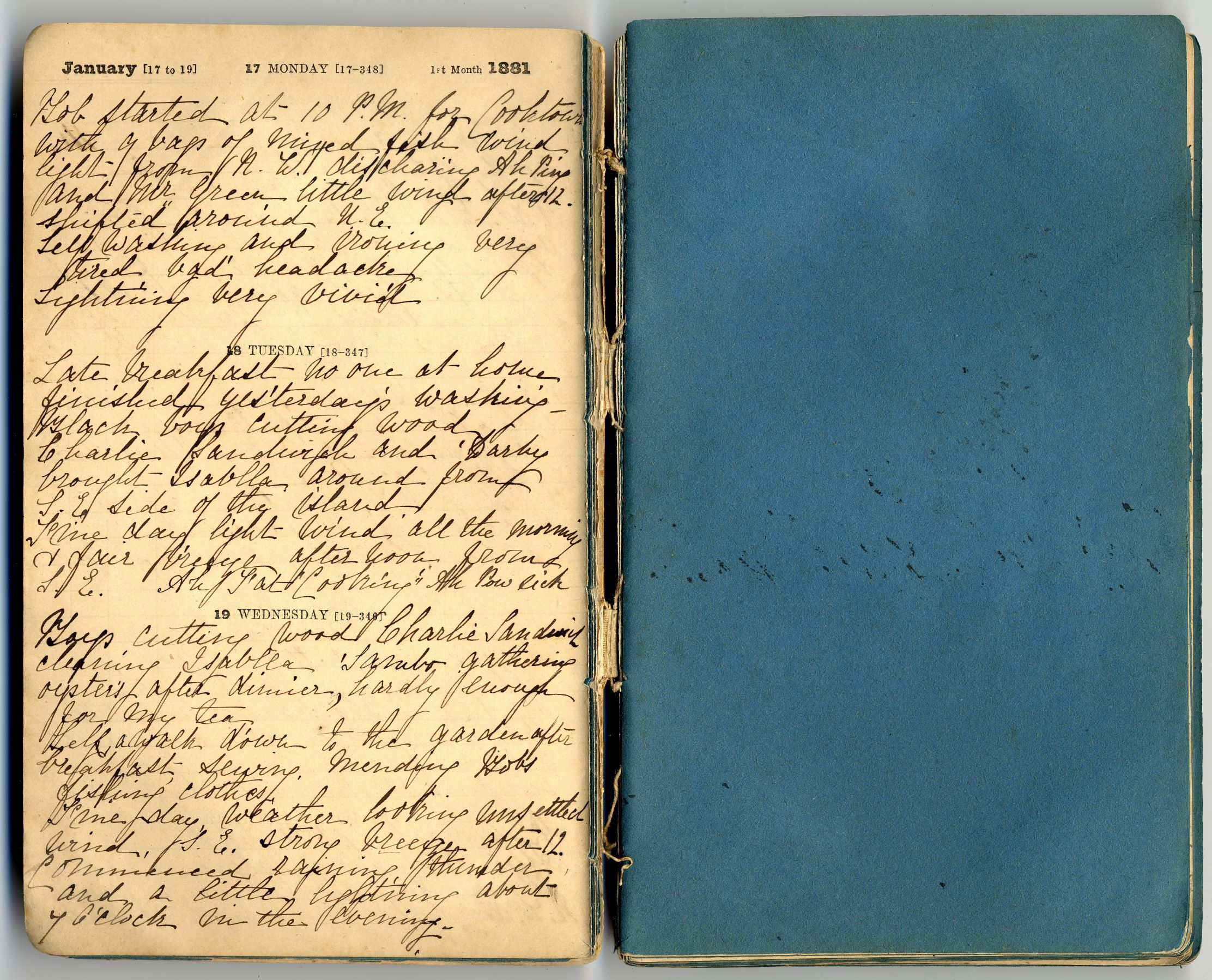 The 1881 diary kept by Mary Watson while she lived at Lizard Island and later fled the diary contains Marys final entries until  10 October 1881