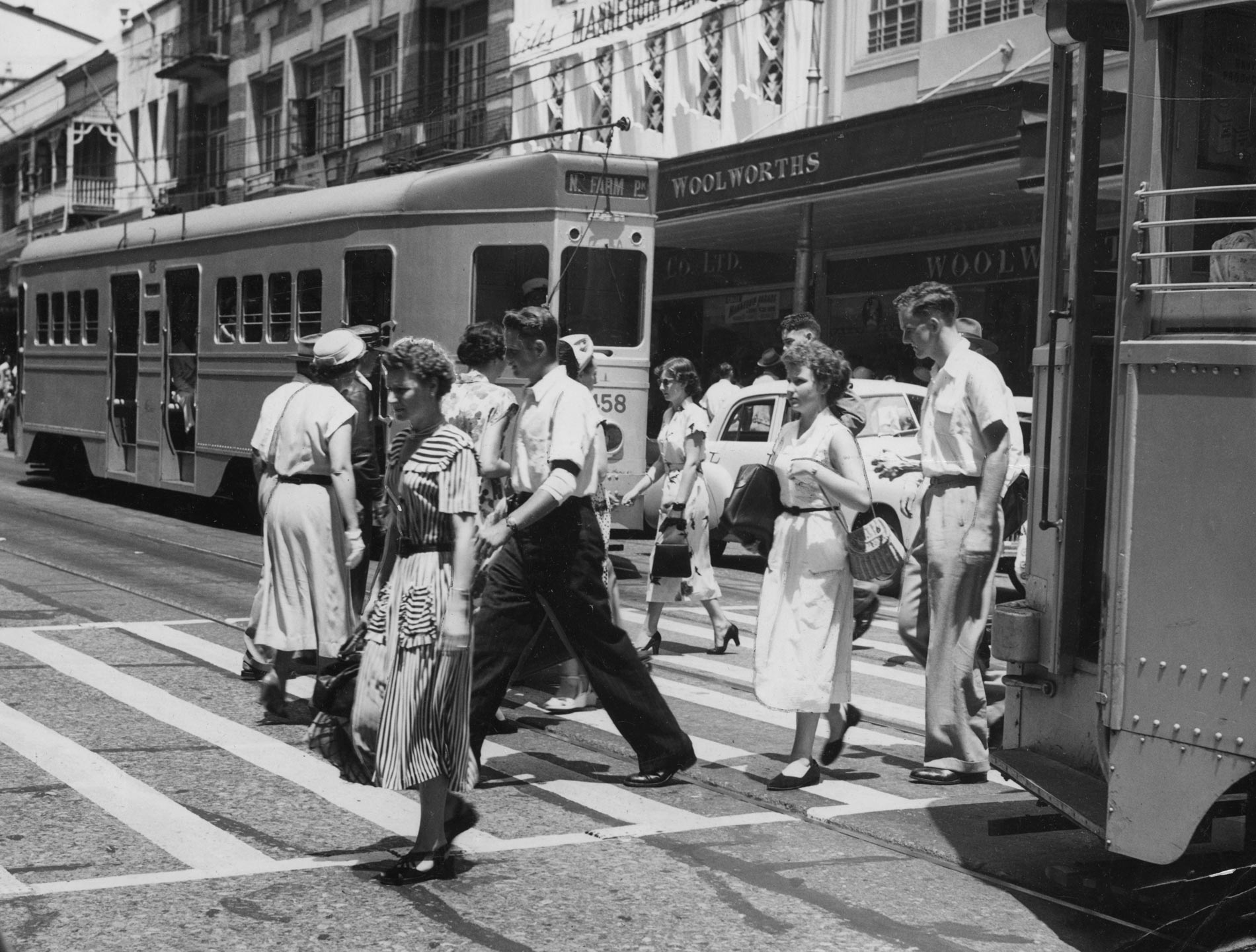 Street scene in Queen Street between Edward and Albert Streets Brisbane 1952