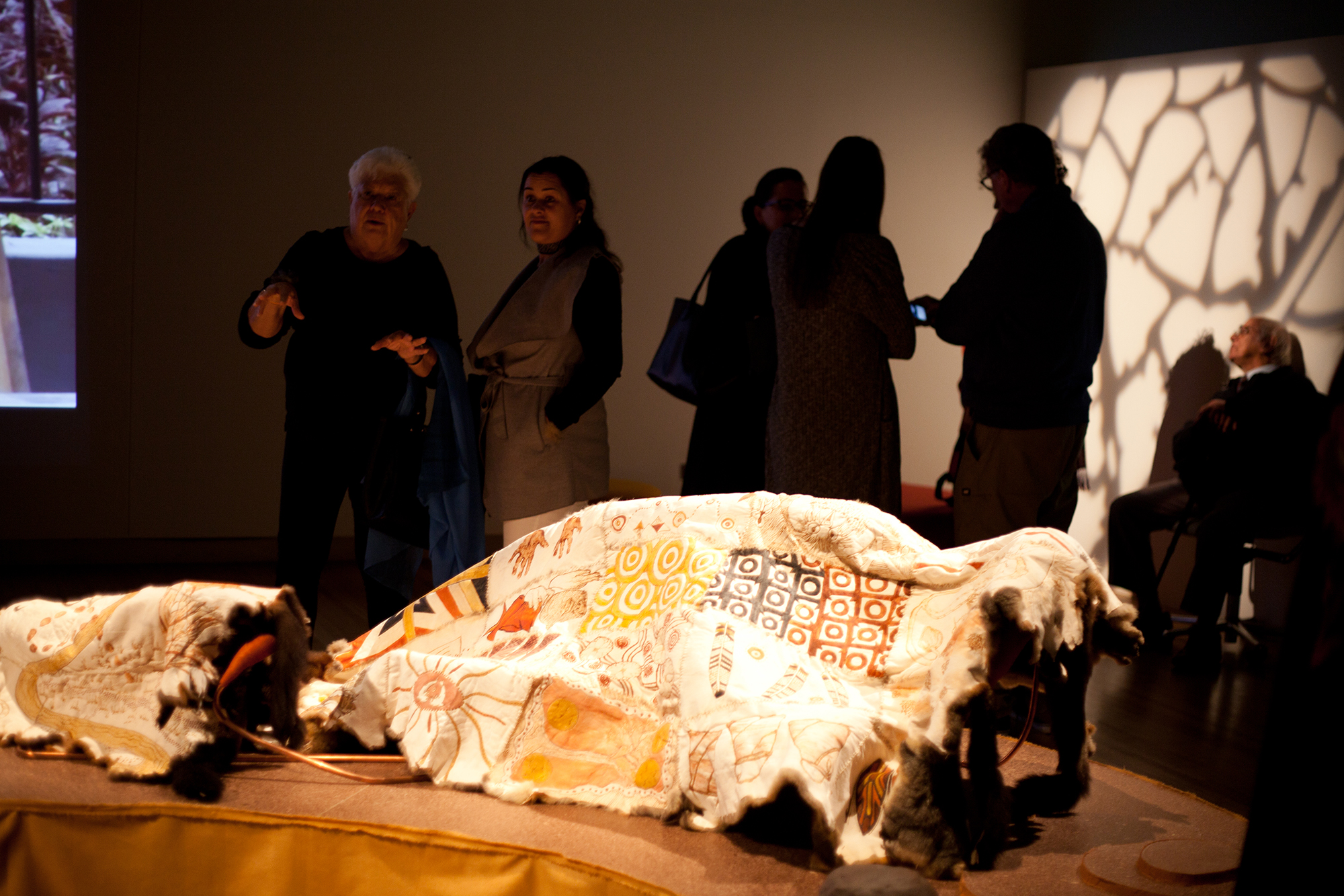 Display of a possum skin cloak at the Art of the Skins exhibition