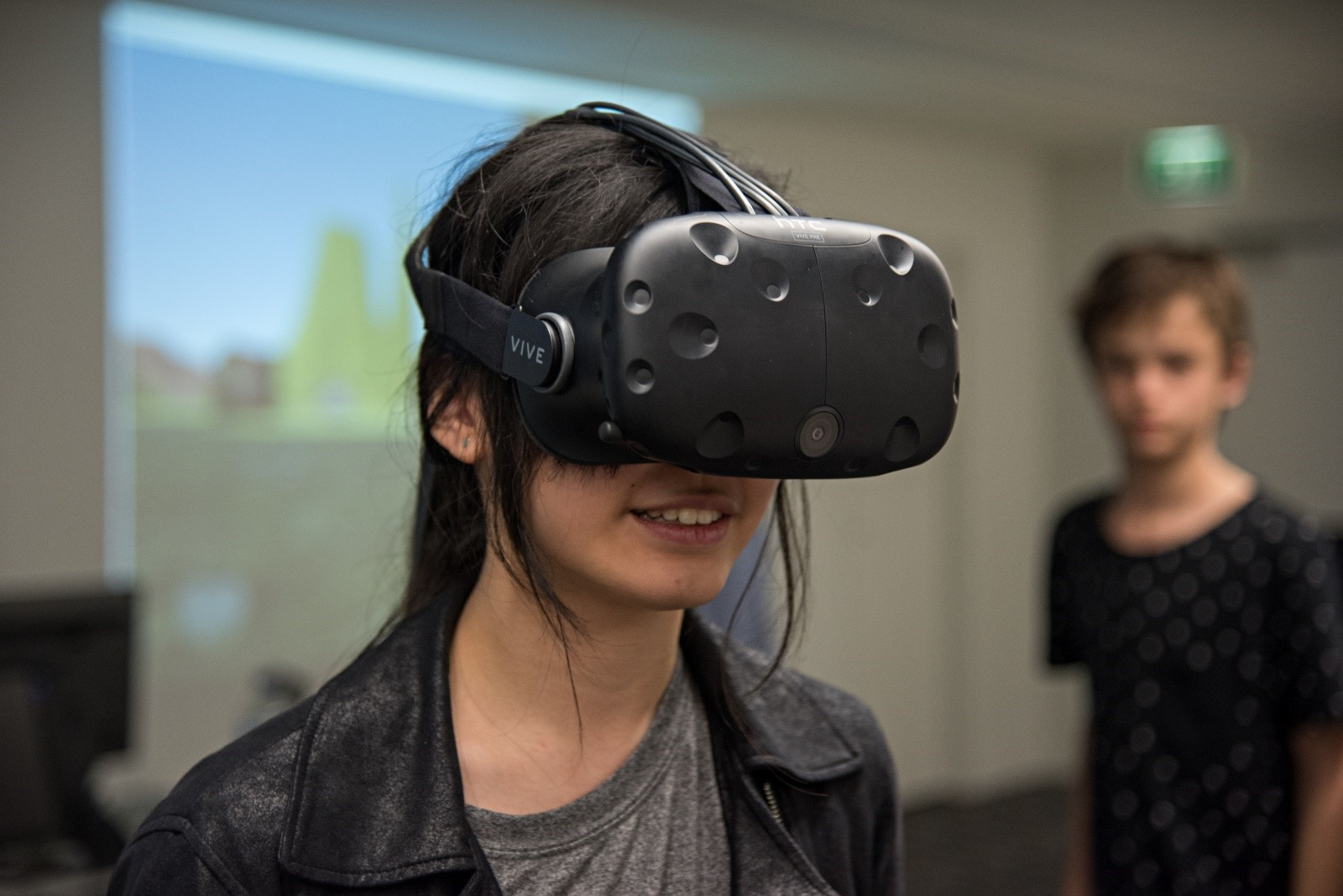 Young person using a VR headset