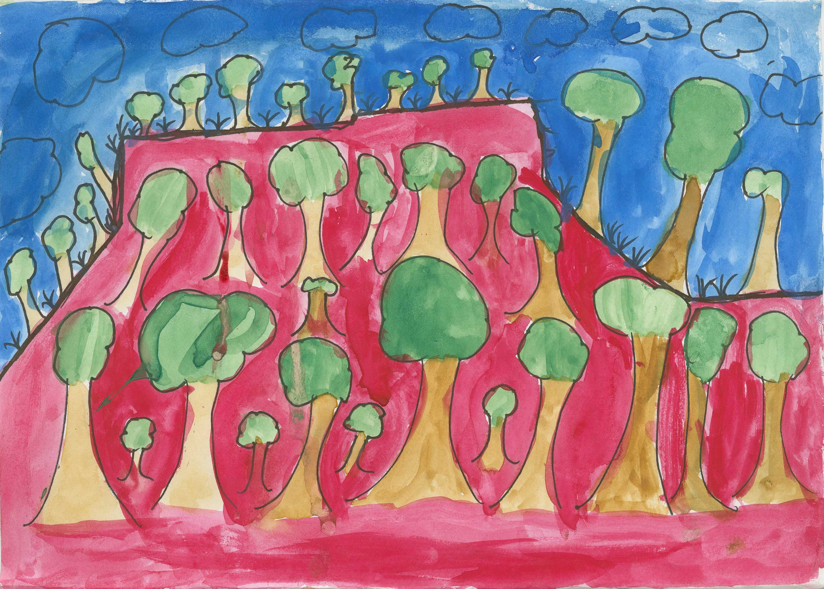 Childs artwork of trees with a virbrant colour