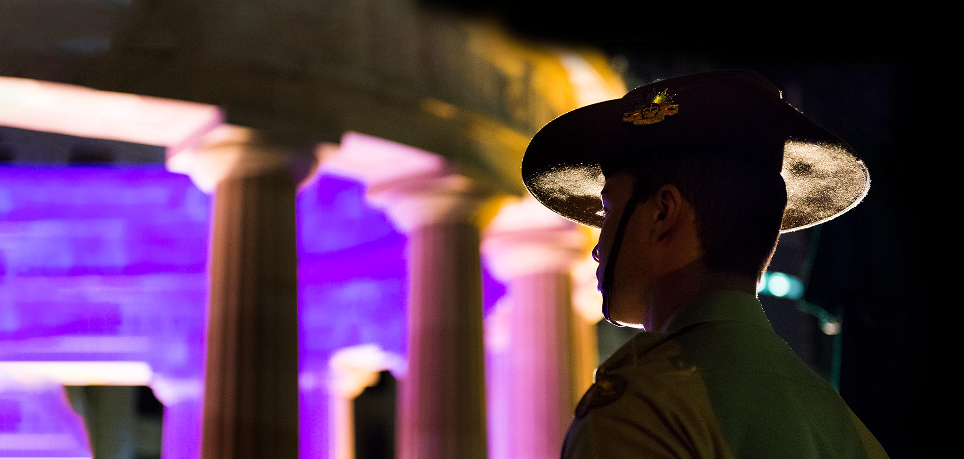 Young Soldier Standing to Attention during the Anzac Day Dawn Service
