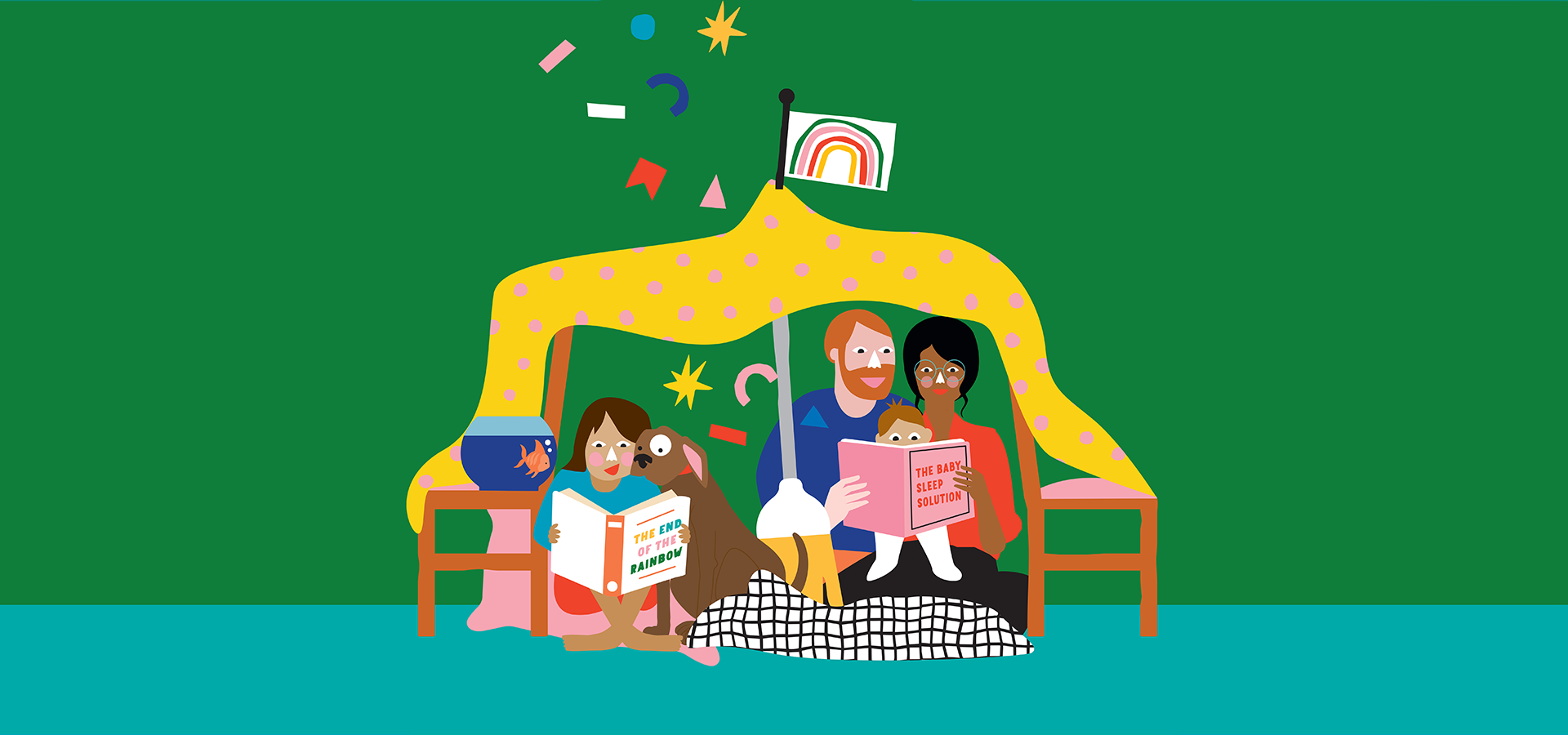 Illustration of families reading together inside a cubby house