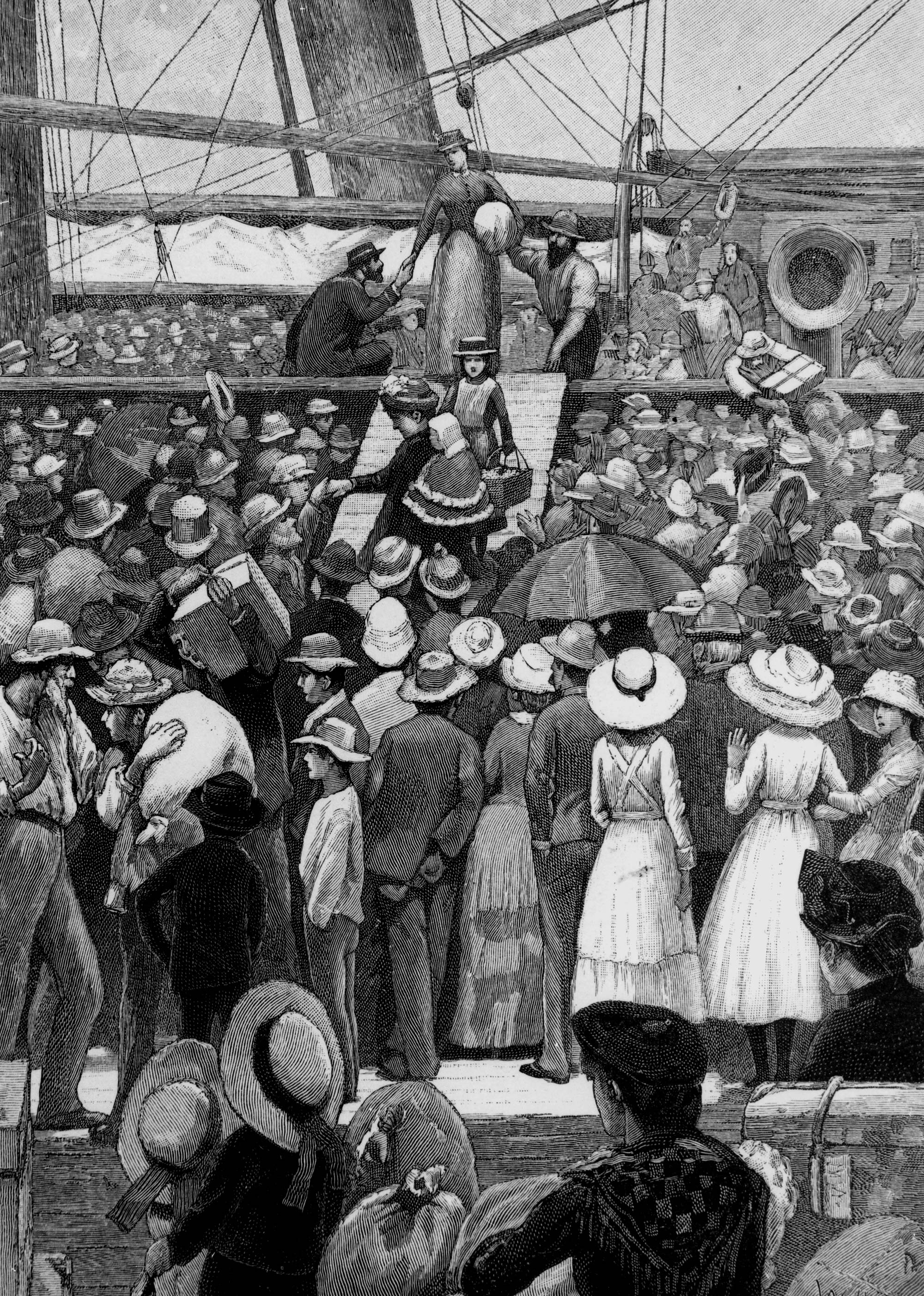Drawing of women disembarking from a ship circa 1885