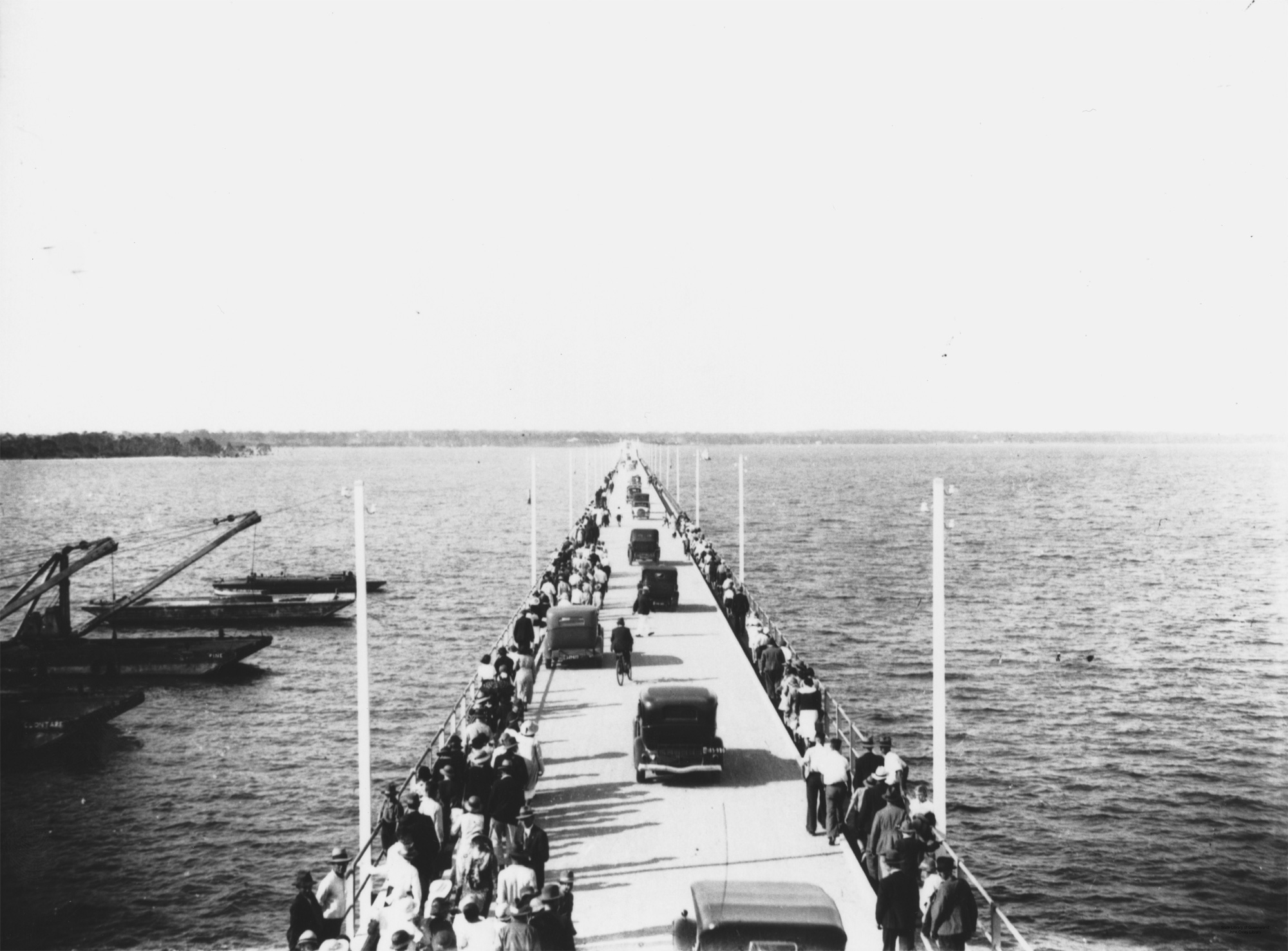 Hornibrook Highway viaduct on opening day Redcliffe 1935