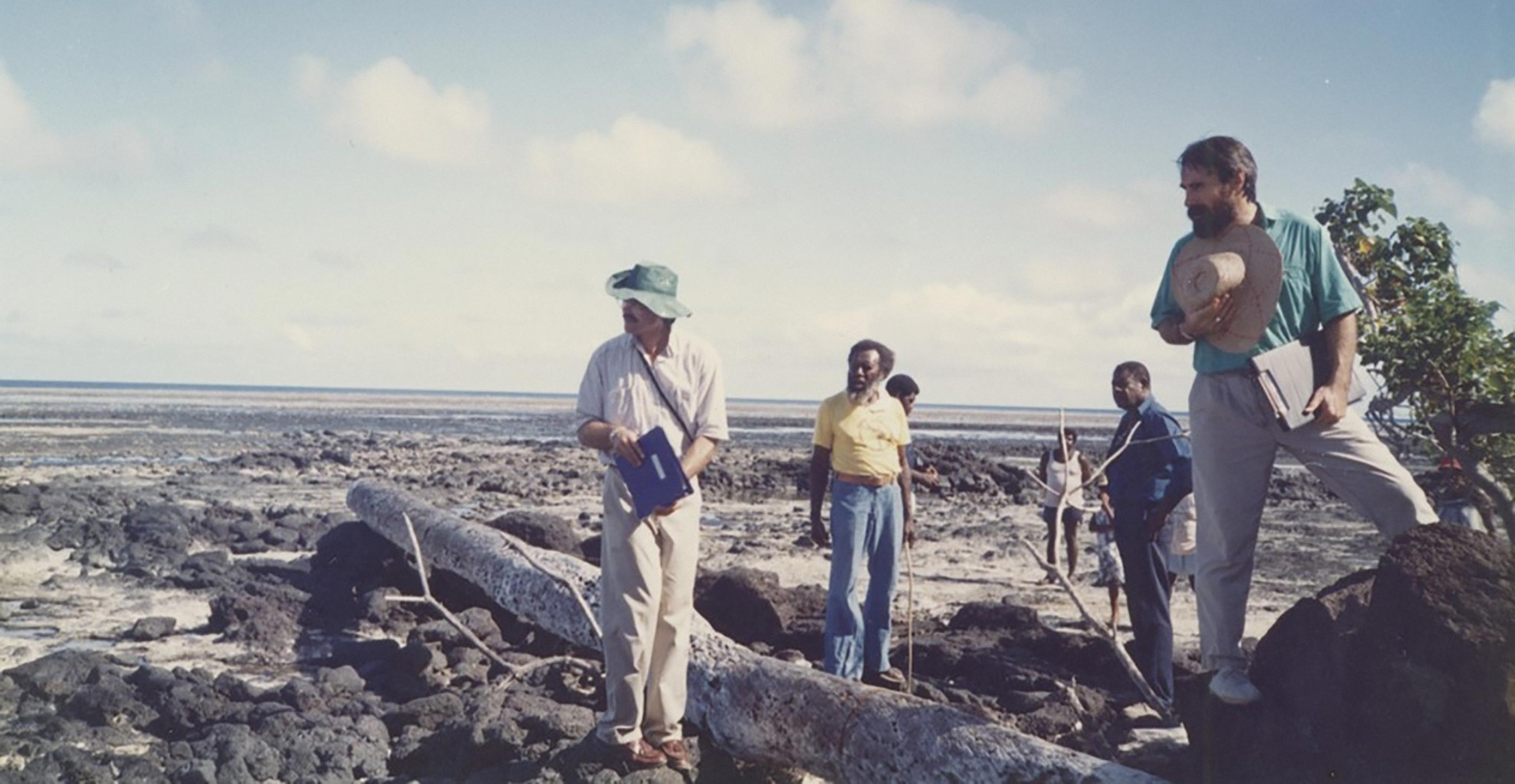 Eddie Mabo and traditional owners lead a site visit on Mer Island