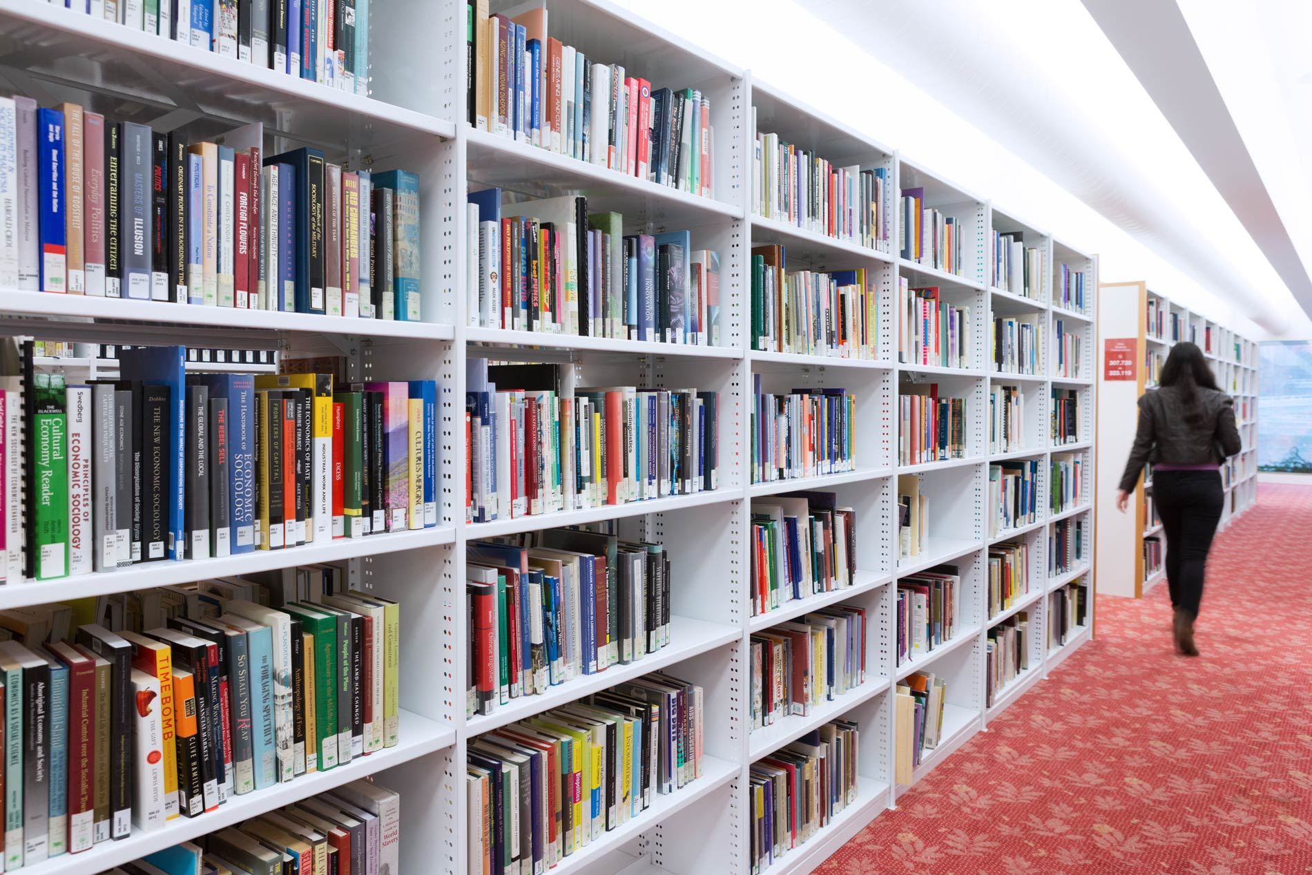 Book shelves in the State Library. Photo by Jeff Camden.