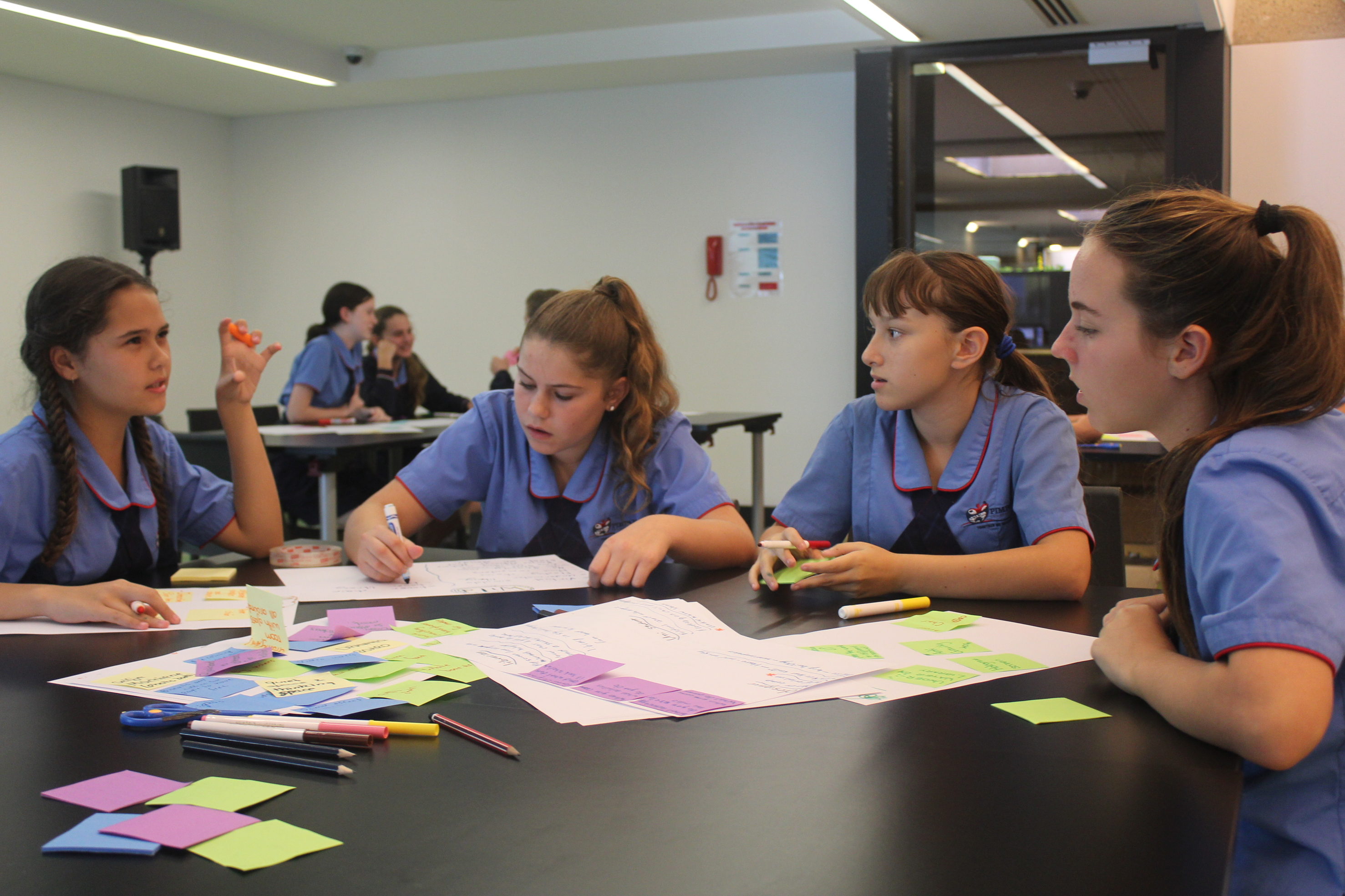 Students participate in a State Library workshop