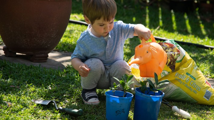 A child watering plants in an outdoor area