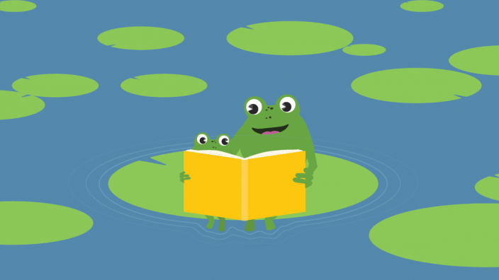 Two illustrated frogs reading on a lilypad