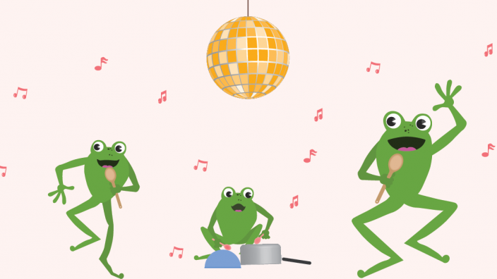 Illustrated frog family singing and playing