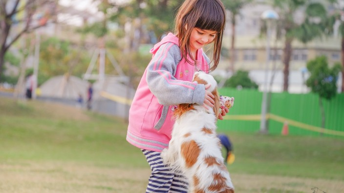 Young girl playing with her pet dog outside