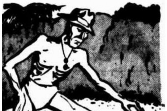 Sketch of a POW on the Thai-Burma Railway from The Courier-Mail 15 Aug 1947 p2