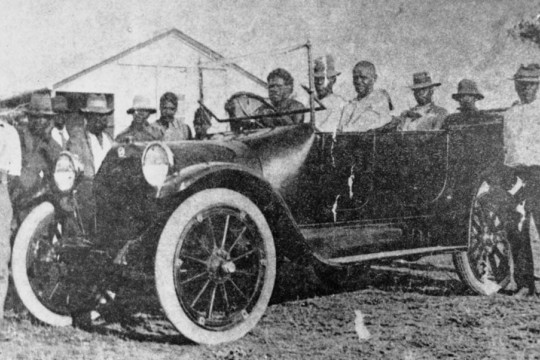 Jerry Jerome driving his car with friends Taroom Settlement 1925  Negative number 108905 John Oxley Library State Library of Queensland