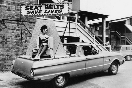 1962 Ford Falcon XL utility with advertising Seat Belt Save Lives 1962 Photographer unknown John Oxley Library SLQ Negative no 116125