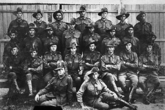 Photograph features several Aboriginal soldiers - believed to include Willie Allen 50246 Glen Combarngo 50248 Herbert Roberts 50265 Patrick Brady 50271 John Lewis 50276 Harry Roberts 50278 and Alexander Stanley 50280 No further details on which names matches which soldier