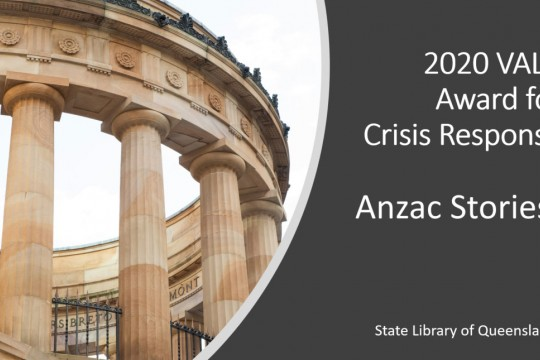 202 VALA Award for Crisis Response Anzac Stories presentation