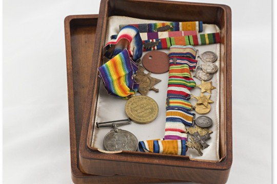 Medals ribbons and miniatures awarded to Joe Lang and his brother Captain William Lang