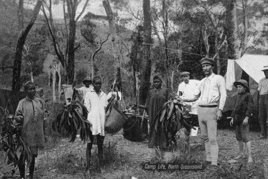 Archibald Meston at an Aboriginal camp during his Bellenden Ker expedition in North Queensland
