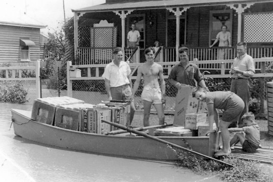 Whittreds Bakery deliver bread during the 1942 floods Gaal Whittred Collection Bundaberg Regional Council Image number qbun00041