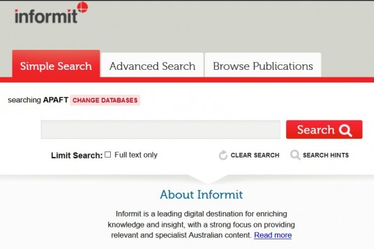 Informit Australian Public Affairs Full Text APAFT home page