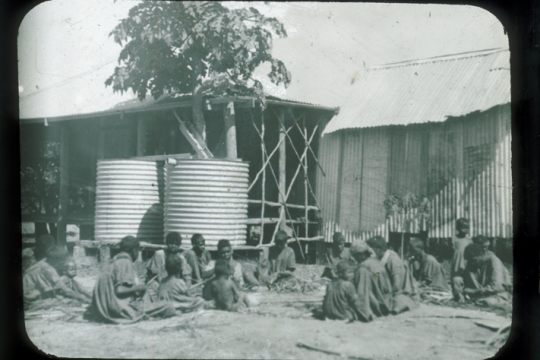 Photograph of Aboriginal women weaving baskets at the Mitchell River Mission Kowanyama Queensland ca 1916
