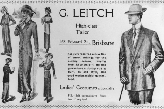 Advertisement for G Leitchs tailoring business in Brisbane