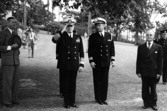 Fleet Admiral William T Halsey and Commander W J Kitchell at the Coral Sea Service American Memorial in Newstead Park Brisbane 1954