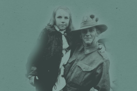 Rendered image of WW1 soldier and young girl posing for a photo