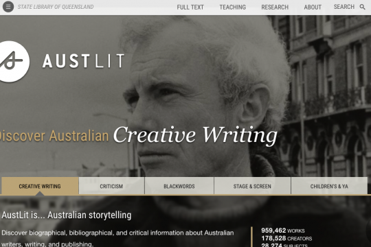 Austlit database home page Text across black and white close image of man looking to the side with urban environment behind him