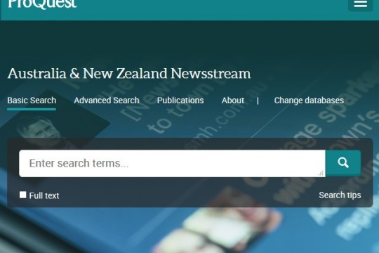 Australia and New Zealand Newsstream database