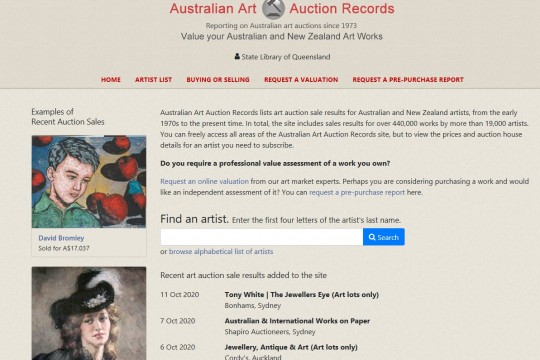 Image of front page of Australian Art Auction Records database