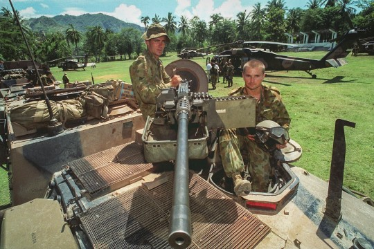 Brisbane soldiers from the 2nd Calvary Regiment patrolling the East Timorese enclave of Oecuss in West Timor 2000