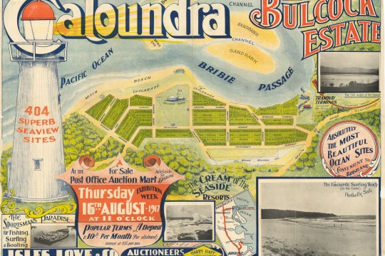 Coloured estate map of Caloundra Bullock Estate featuring a light house and the Bribie Island Passage