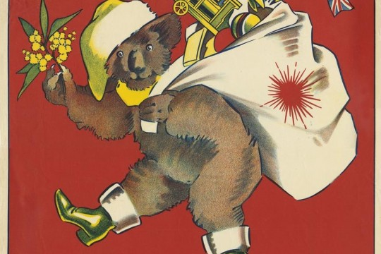 Christmas poster featuring a koala dressed in Santa hat and boots ca 1920