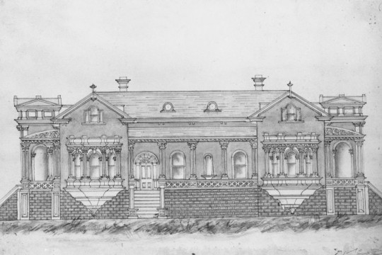 Drawing of a house by architect Andrea Stombuco