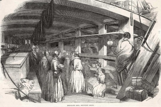 Drawing of people between decks of an emigrant ship published in The Illustrated London News