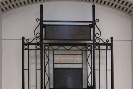 AIF wrought iron Engineers, Signals, Tunnellers and Railway Units Memorial Gate where it currently stands in the WWI Gallery at Anzac Square Memorial Galleries.