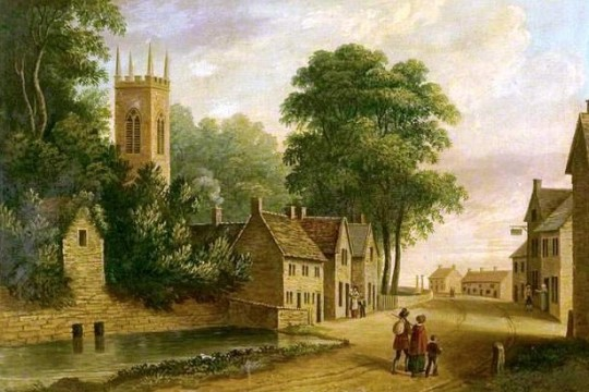 Painting of scene of 19th century Eyam