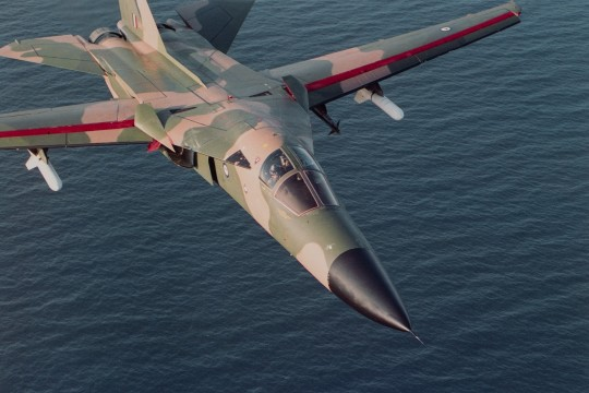 F-111 Strike aircraft on a training run over the ocean Queensland 1989