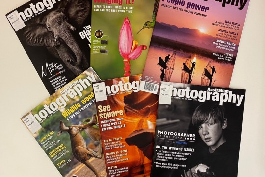 Photo of six magazine covers all 2020 and 2021 issues of Australian Photography magazine