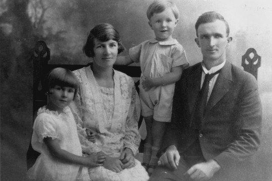 BW family portrait of the Boyden family L-R daughter mother son father