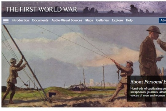 Image from The First World War online database home page