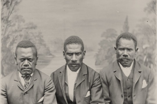 Studio portrait of three South Sea Islander men in Queensland
